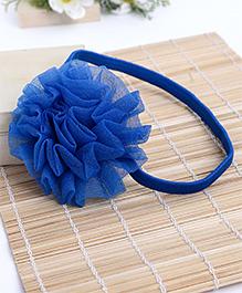 Babyhug Elastic Headband With Ruffle Flower - Blue