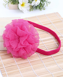 Babyhug Elastic Headband With Ruffle Flower - Pink