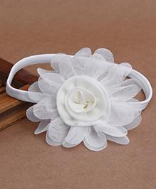Babyhug Elastic Headband With Flower Applique - White