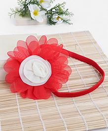 Babyhug Elastic Headband With Flower Applique - Red