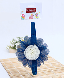 Babyhug Elastic Headband With Flower Applique - Blue