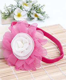 Babyhug Elastic Headband With Flower Applique - Pink