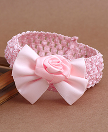 Babyhug Crochet Headband With Rose Applique - Light Pink