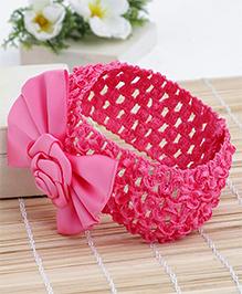 Babyhug Crochet Headband With Rose Applique - Dark Pink