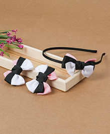 Babyhug Headband And Hair Clips With Bow - White Black Pink