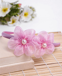 Babyhug Hair Band Floral Applique - Light Pink