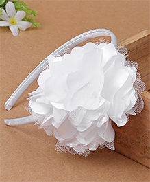 Babyhug Hair Band With Floral Applique - White