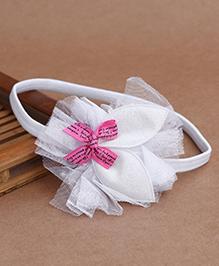 Babyhug Elastic Headband With Shimmery Applique - White