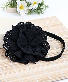 Babyhug Elastic Headband With Lace Flower Applique - Black
