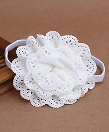 Babyhug Elastic Headband With Lace Flower Applique - White