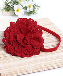 Babyhug Elastic Headband With Lace Flower Applique - Red