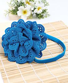 Babyhug Elastic Headband With Lace Flower Applique - Blue