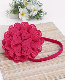 Babyhug Elastic Headband With Lace Flower Applique - Dark Pink