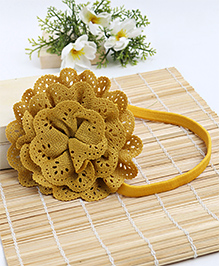 Babyhug Elastic Headband With Lace Flower Applique - Mustard