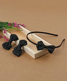 Babyhug Headband And Hair Clips With Bow - Black