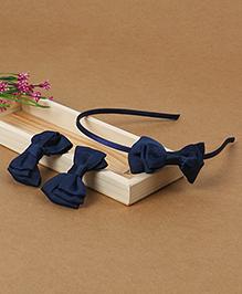Babyhug Headband And Hair Clips With Bow - Blue