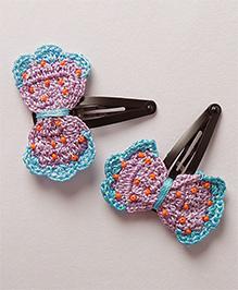Samoolam Crafts Crochet Bow Hair Clip - Purple & Blue