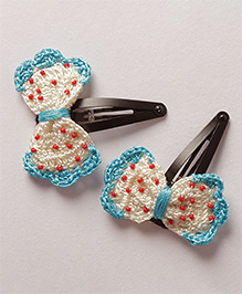 Samoolam Crafts Crochet Bow Hair Clip - White & Blue