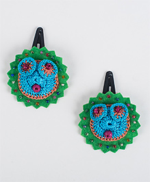 Samoolam Crafts Bead Work Felt Hair Clip - Green Blue & Orange
