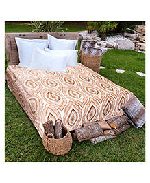 A Homes Grace Double Bed Flannel Blanket Floral Design - Off White Brown