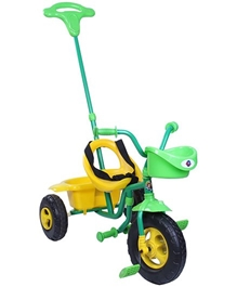 Playnation Tricycle with Push Handle - Yellow and Green