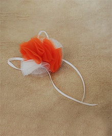 Many Frocks & Lace And Ruffle Hair Clip - Orange & White