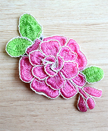 Pretty Ponytails Embroidered Hair Flowers Rose Hair Clips Gift - Pink & White