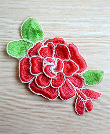 Pretty Ponytails Embroidered Hair Flowers Rose Hair Clips Gift Set - Red & White