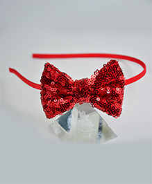 Little Miss Cuttie Sequin Soft Bow Hair Band - Red
