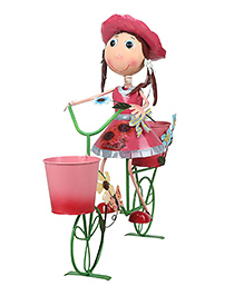 Wonderland Garden Girl With Bicycle Kids Room Decor Planter - Multicolour