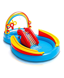 Intex Inflatable Rainbow Ring Water Play Centre Pool - Multi Colour