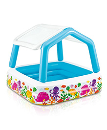 Intex Inflatable Kids Swimming Pool With Canopy - Blue & White