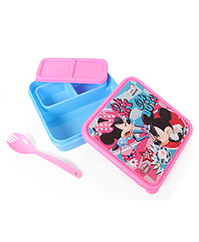 Disney Mickey & Minnie Lunch Box With Fork Spoon - Pink Blue