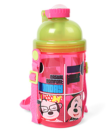 Disney Sipper Bottle Minnie Mouse Print Pink Green - 450 Ml