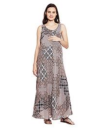 Oxolloxo Aztec Printed Maternity Dress - Beige