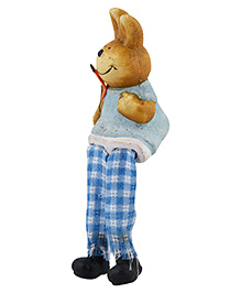 Curtis Toys Ceramic Bunny Figure With Hanging Legs - Blue