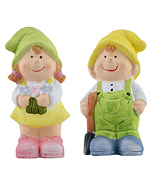 Curtis Toys Ceramic Girl & Boy Figures Set Of 2 - Multicolour