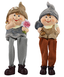 Curtis Toys Ceramic Girl & Boy Figure With Hanging Legs Set Of 2 - Brown Grey