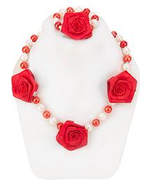 Daizy Rose Necklace & Bracelet Set - Red