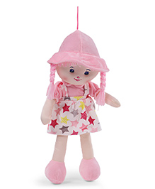 Starwalk Candy Doll With Dungaree Style Frock Star Print Light Pink - Height 55 Cm