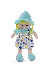 Starwalk Candy Doll With Dungaree Style Frock Star Print Sea Green - 55 Cm