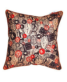The Crazy Me Cushion Cover Stamp Print - Brown