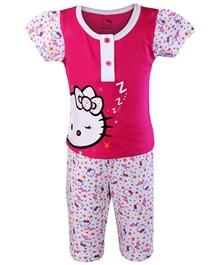 Hello Kitty - Short Sleeves Pink Night Suit