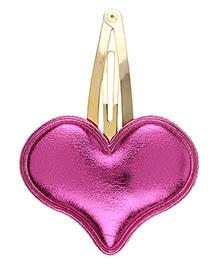 Baby Angel Shiny Heart Hair Clip - Dark Pink