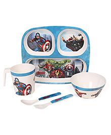 Marvel Avengers Printed Feeding Set Pack Of 5 - Blue
