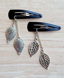 Pretty Ponytails Set Of 2 Metallic Leaf Design Tic Tac Hair Clips - Silver