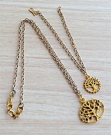 Pretty Ponytails Tree Design Necklace & Bracelet Set - Gold