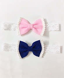 Knotty Ribbons Set Of 2 Bow Hair Band - Dark Blue & Light Pink