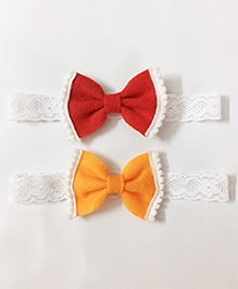 Knotty Ribbons Set Of 2 Bow Hair Band - Red & Orange