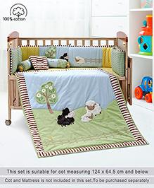 Babyhug Crib Bedding Set Farm Theme Small Pack Of 6 - Light Green